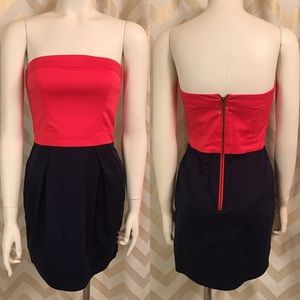 NWT FCUK Tube Dress Coral/Navy Size 4